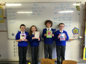 Chantelle, Clodagh, Conor and Brian with their Write a Book submissions