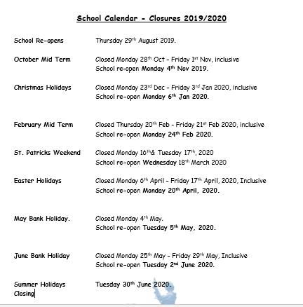 School Calendar   St Brigids Primary School